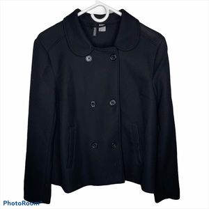 H&M Black Buttoned Collared Trench Coat
